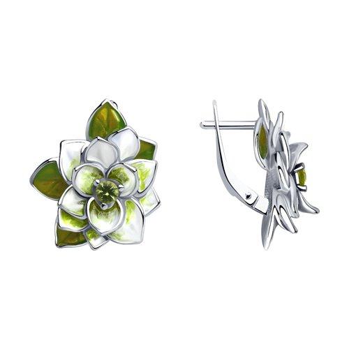 Серьги из серебра с эмалью и фианитами
