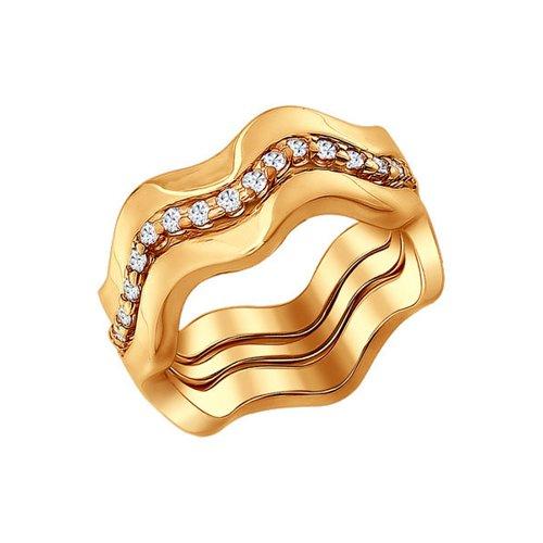 Кольцо наборное из золочёного серебра с фианитами