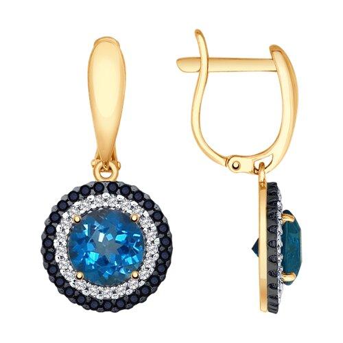 Серьги из золота с синими топазами и бесцветными и чёрными фианитами