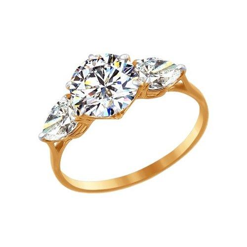 Золотое кольцо с камнями Swarovski SOKOLOV