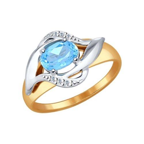 Кольцо из комбинированного золота с голубым топазом и фианитами
