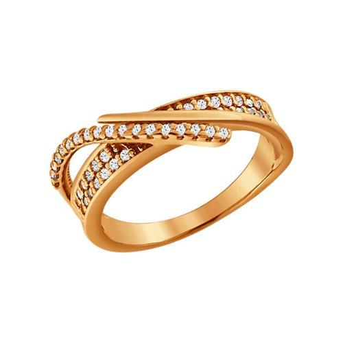 Кольцо из золочёного серебра с фианитами (93010222) - фото