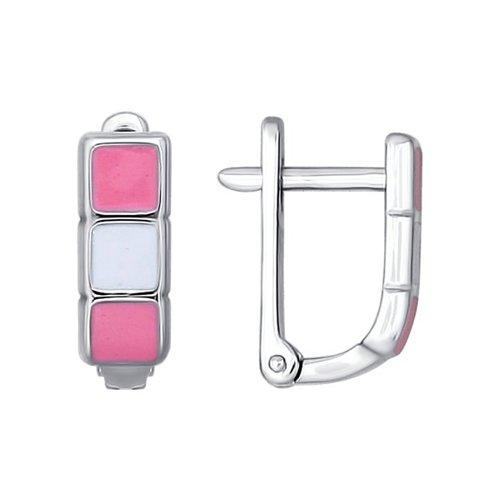 Серьги SOKOLOV из серебра с розовой и белой эмалью