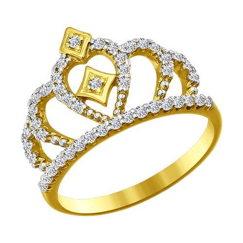 Кольцо из желтого золота с фианитами (016628-2) - фото