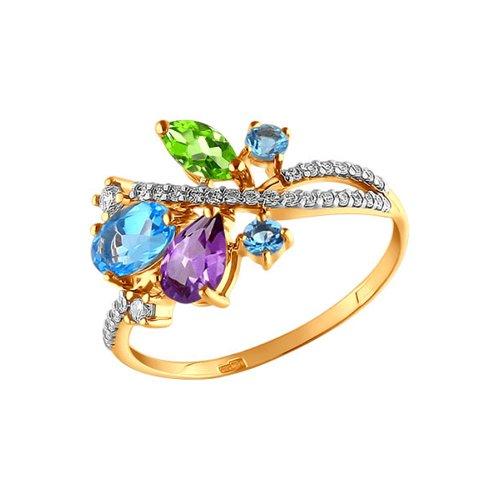 Кольцо из золота c миксом из камней