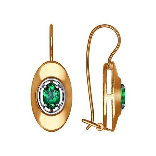 Серьги из золота с зелеными фианитами