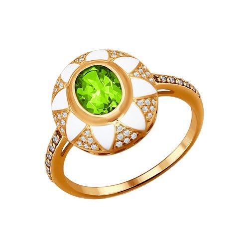 Золотое кольцо с белой эмалью и хризолитом SOKOLOV золотое кольцо ювелирное изделие 01k626002
