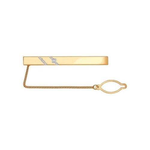 Зажим для галстука из золота с двумя дорожками фианитов
