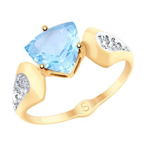 Кольцо из золота с топазом и фианитами (715121) - фото