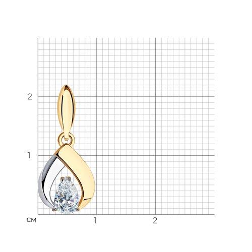 Подвеска из золота с фианитом (034728) - фото №2