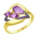 Кольцо из желтого золота с аметистами и фианитами