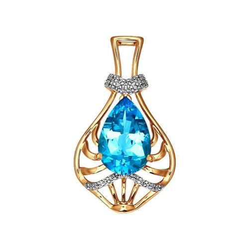Золотая подвеска с роскошным голубым топазом SOKOLOV проводной и dect телефон philips dctg190