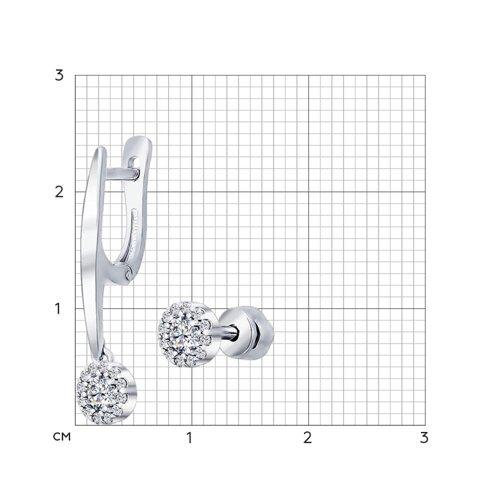 Серьги из серебра с фианитами (94021886) - фото №2