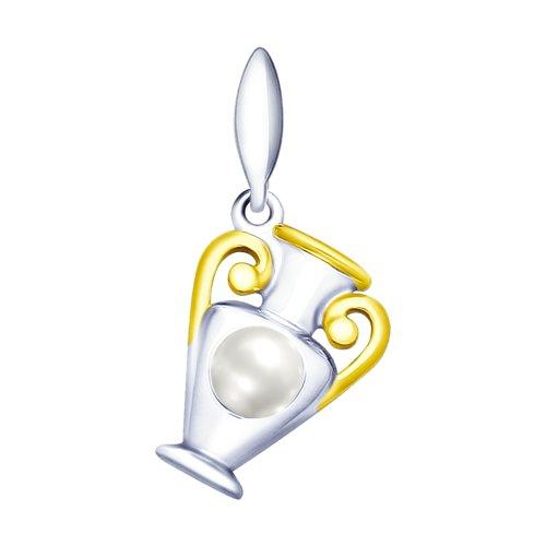Серебряная подвеска «Водолей» с жемчугом (94032037) - фото