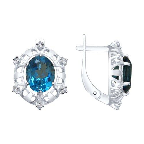 Серьги из серебра с синими топазами (92022022) - фото