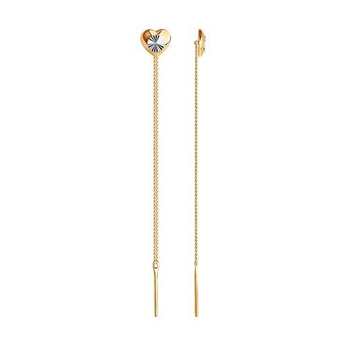 Серьги-цепочки из золота с алмазной гранью (022410) - фото