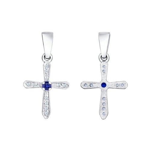 Крест SOKOLOV из белого золота с бриллиантами и сапфиром крест из белого золота с бриллиантами и сапфиром