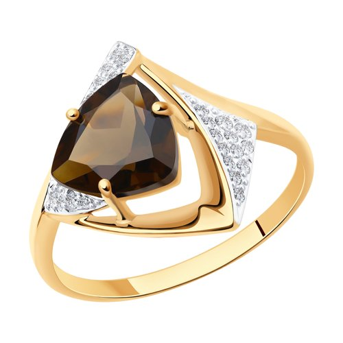Кольцо из золота с раухтопазом и фианитами (714948) - фото