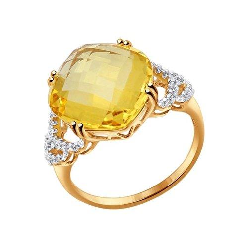 Кольцо из золота с жёлтым кварцем и фианитами