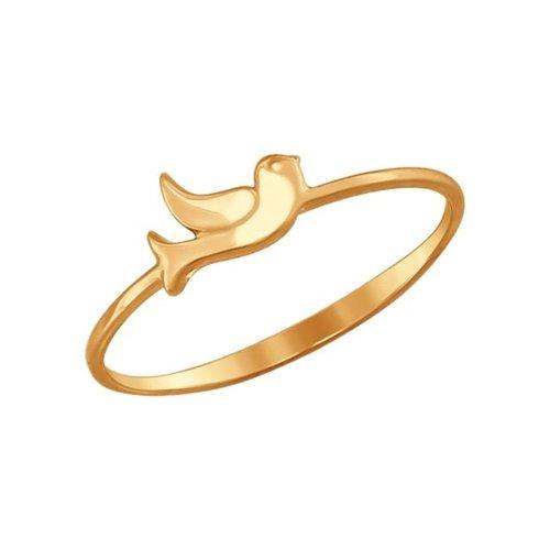 Тонкое золотое кольцо с птичкой SOKOLOV
