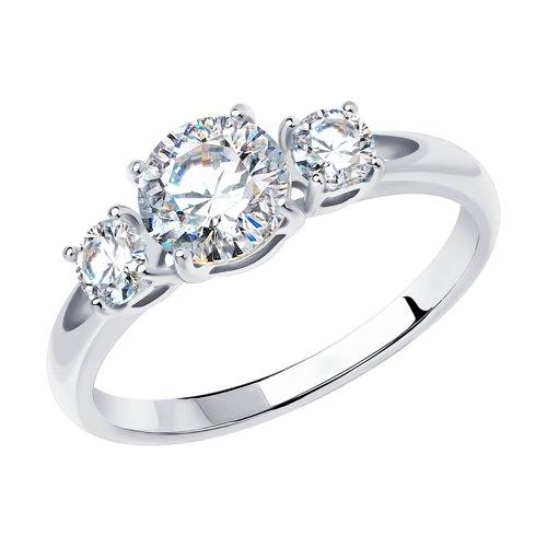 Помолвочное кольцо из белого золота со Сваровски