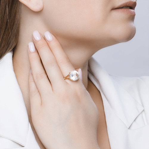 Перстень с горным хрусталём 711218 SOKOLOV фото 4