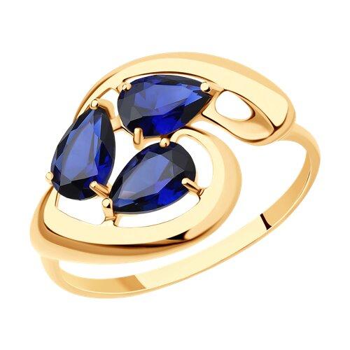 Кольцо из золота с корундами сапфировыми (синт.) (714628) - фото