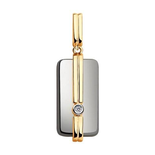 Подвеска из золота с бриллиантом и керамикой (6035059) - фото