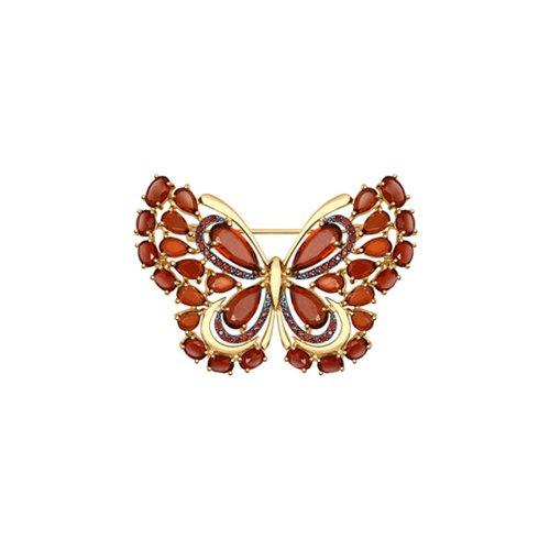Брошь «Бабочка» с гранатами