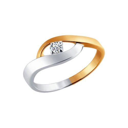 Комбинированное золотое кольцо с бриллиантом SOKOLOV