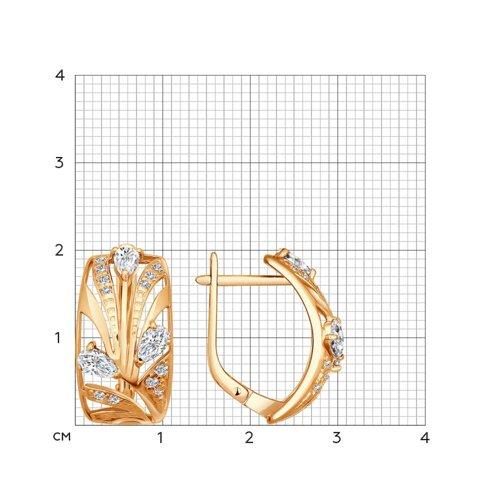 Серьги из золочёного серебра с фианитами (93020186) - фото №2