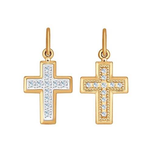 Крест из комбинированного золота с фианитами (120193) - фото