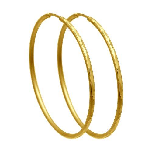 Серьги из желтого золота с алмазной гранью (140064-2) - фото