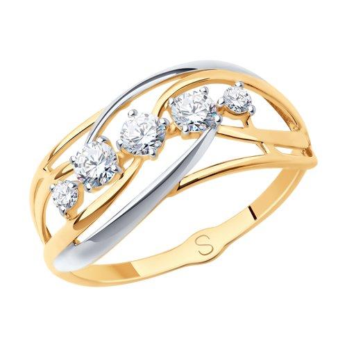 Кольцо из золота с фианитами (017914) - фото