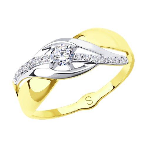 Кольцо из желтого золота с фианитами (017948-2) - фото