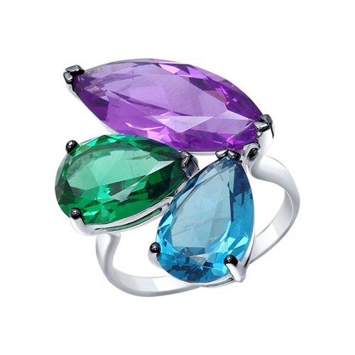 Кольцо из серебра с сиреневым, зелёным и синим ситаллами