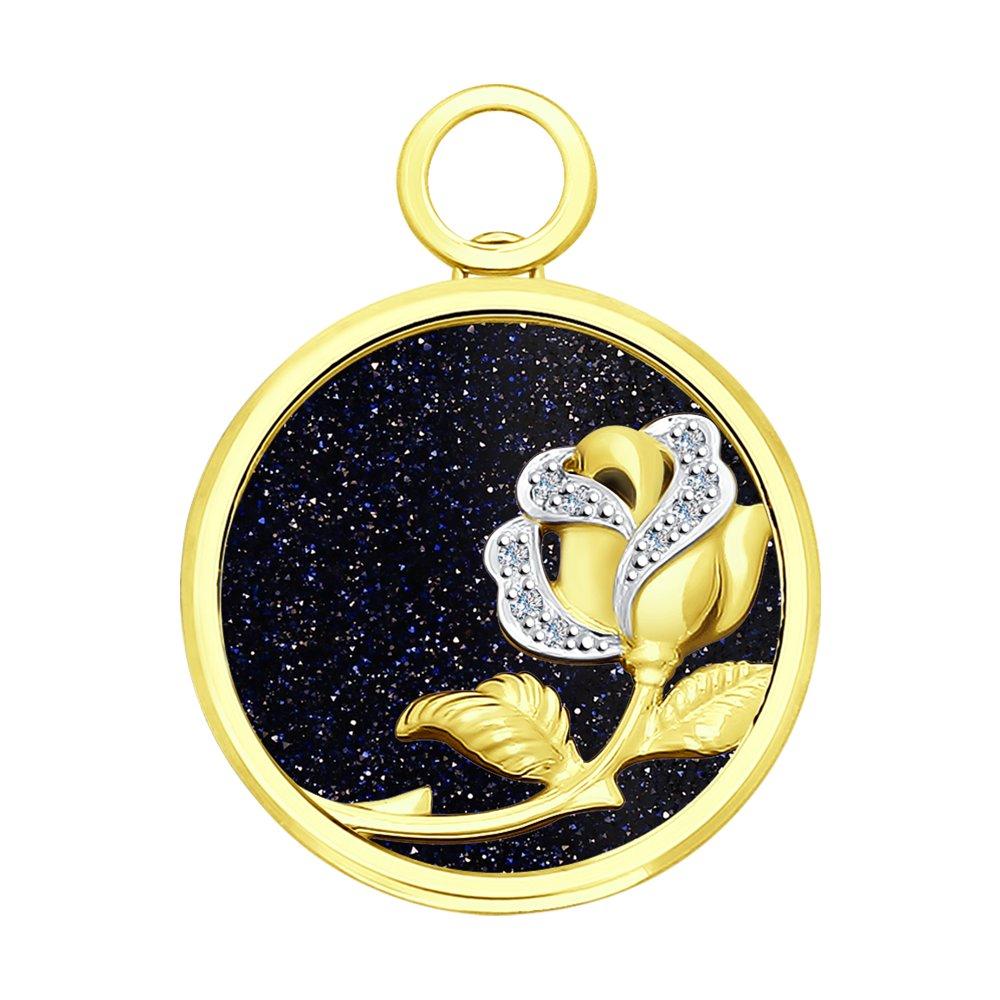 Фото - Подвеска SOKOLOV из желтого золота с бриллиантами и авантюрином подвеска sokolov из желтого золота с бриллиантами и авантюрином