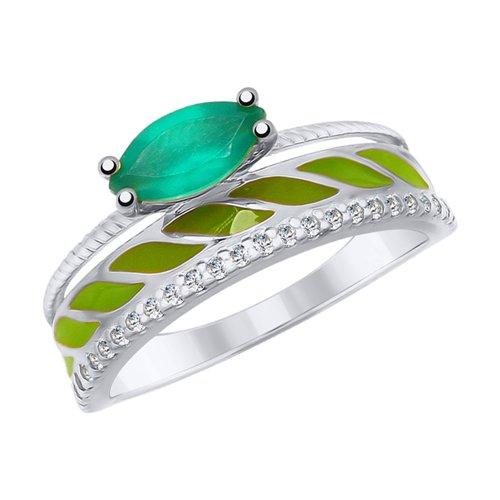 Кольцо из серебра с эмалью и агатом и фианитами (92011614) - фото