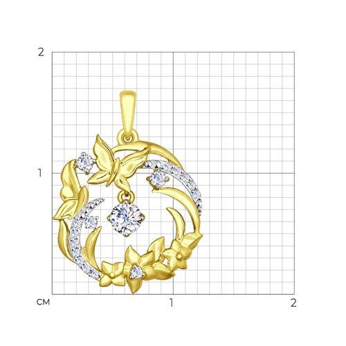 Подвеска из желтого золота с фианитами (035107-2) - фото №2