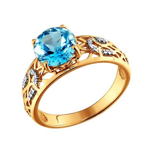 Широкое золотое кольцо с круглым топазом SOKOLOV золотое кольцо ювелирное изделие 01k663088