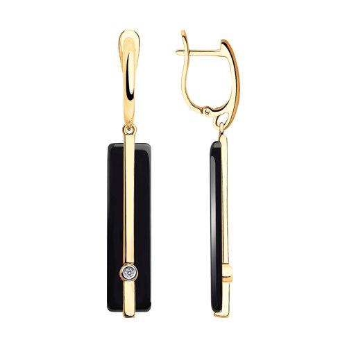 Серьги из золота с бриллиантами и чёрной керамикой