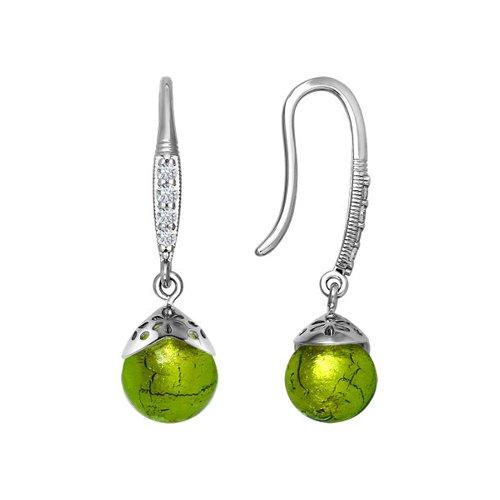 Серьги из серебра с муранское стекло и фианитами цена 2017