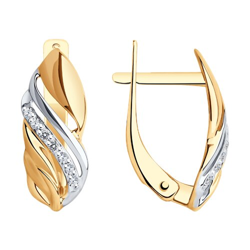 Серьги из золота с фианитами (027400) - фото