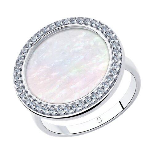Кольцо из серебра с перламутром и фианитами (94013021) - фото