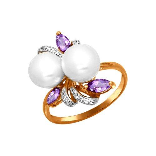 Золотое кольцо с букетом SOKOLOV из жемчуга, аметистов и фианитов золотое кольцо ювелирное изделие k 11013