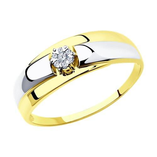 Кольцо из комбинированного золота с бриллиантами (1011551-2) - фото