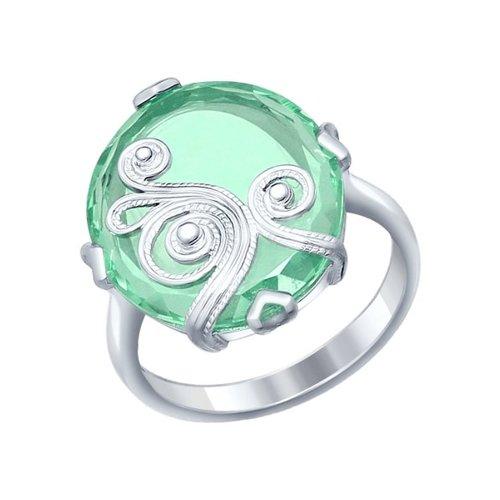 Кольцо из серебра с ситаллом и сканью (92011229) - фото