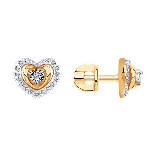 Серьги из комбинированного золота с бриллиантами (1021544) - фото