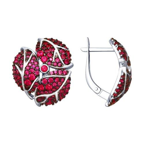 Серьги из серебра с красными фианитами (94022620) - фото