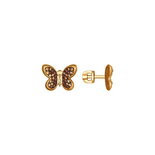 Серьги-пусеты из золочёного серебра с жёлтыми и коричневыми фианитами